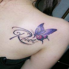 女生后肩唯美蝴蝶纹身图案欣赏
