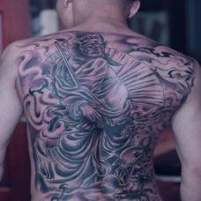 男士霸气满背钟馗纹身经典图案欣赏