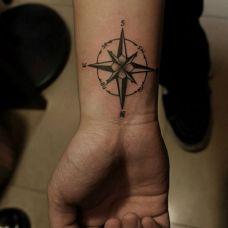 手腕简单指南针小纹身图片