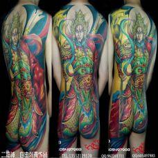 霸气彩色满背二郎神纹身图案欣赏