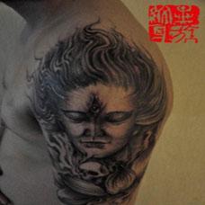 男生手臂经典二郎神纹身图案大全