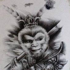 黑白手绘斗战胜佛纹身图案大全