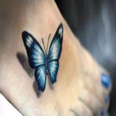 脚上唯美的蝴蝶纹身图案作品