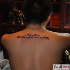 男士背部的藏文纹身图案效果图