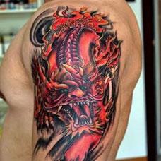 男生神兽手臂麒麟纹身图案大全
