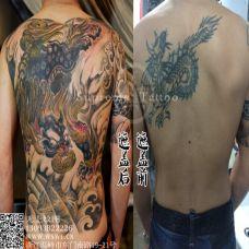 男士满背貔貅纹身遮盖效果图