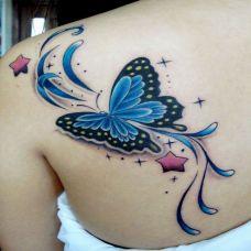 女生背部精美彩色蝴蝶纹身图案
