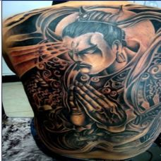 黑白线条满背二郎神纹身图案欣赏