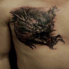 男生胸部烈火麒麟纹身图案大全