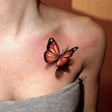 女生锁骨立体蝴蝶纹身图案