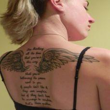 性感女郎后背翅膀纹身图案大全