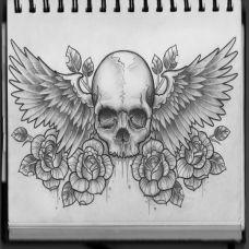 霸气骷髅翅膀纹身图案大全