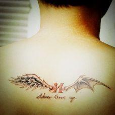 欧美男生后背蝙蝠翅膀纹身图案大全