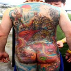 男生霸气二郎神满背纹身图案大全