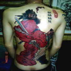水墨风格钟馗满背纹身效果图