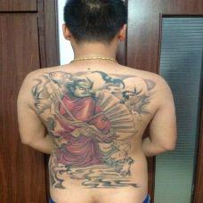 彩色满背钟馗纹身效果图片