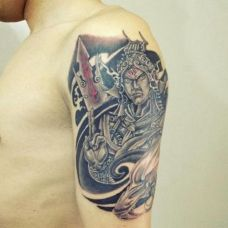手臂炫酷帅气二郎神纹身图案大全