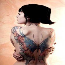 满背的美女蝴蝶超霸气纹身图片