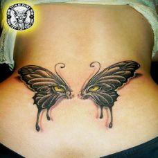 简单后腰精美蝴蝶纹身图案