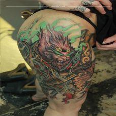 金箍一棒震天啸,大腿霸气斗战胜佛彩绘纹身