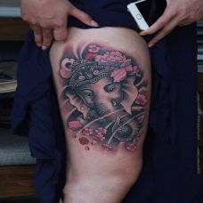 度化尘世,大腿象神个性纹身