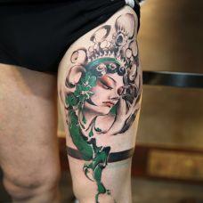 人生如戏,大腿个性花旦彩绘纹身