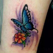 蝴蝶精美纹身大腿图案图集欣赏