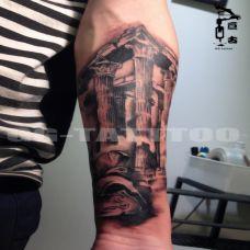欧美建筑个性小臂纹身高清图案