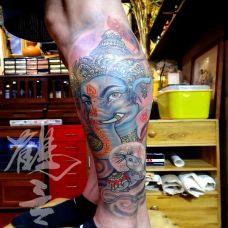 神之普度,小腿迦尼萨象神彩绘纹身