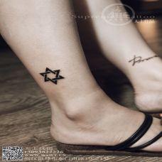 小清新个性纹身简单六芒星图案