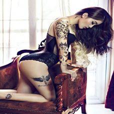 长腿性感纹身美女图片合辑