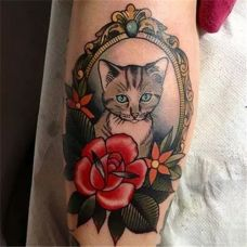 猫咪彩色逼真图案个性纹身大全