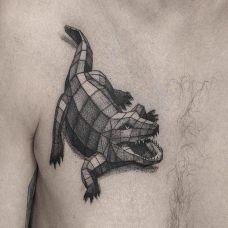 巨口猛兽,胸口几何风格d鳄鱼个性纹身