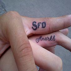 手指英文字母情侣纹身图案