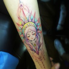 太阳女神,手臂可爱卡通少女彩绘纹身