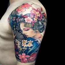 最难消受美人恩,手臂艺妓彩绘纹身图案