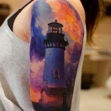 暗夜中的明灯,手臂唯美灯塔彩绘纹身