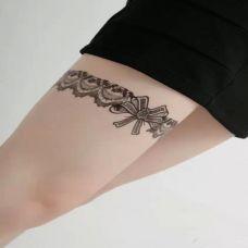 腿部性感蕾丝纹身图片大全