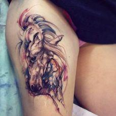 手臂帅气的马纹身图片