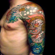 日式色彩鲜艳半甲纹身图案大全