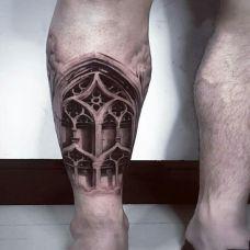 米兰大教堂,小腿d建筑创意纹身