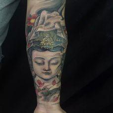 佛法无边,手臂观世音菩萨彩绘纹身