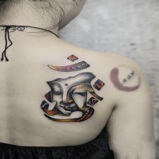 心系佛音,后背梵文佛像彩绘纹身