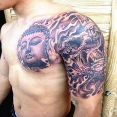 佛头个性半甲纹身图案大全