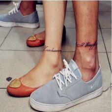 情侣个性英文脚踝纹身图片