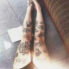 美女花旦腿部纹身图案大全