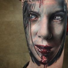 泣血女神,手臂诡异女郎肖像纹身