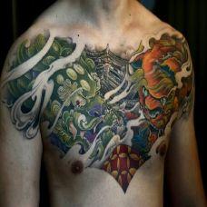 浓情中国风,胸口传统唐狮彩绘纹身