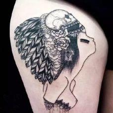 欧美女生腿部纹身图案精选