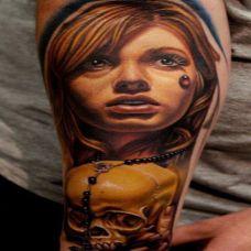 女神之泪,手臂哭泣女神肖像彩绘纹身